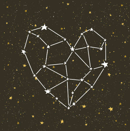 Starlit heart on the dark night sky  with stars. Vector background for valentines card, love poster and wedding, greeting, invitation cards.
