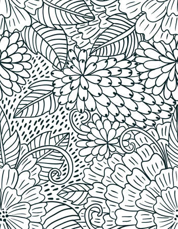 Floral hand drawn intricate seamless pattern. Doodle flowers decorative vintage background.