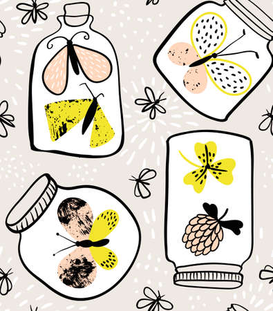 Vector seamless pattern with hand drawn flowers and butterflies in bottles. Floral background in freehand hipster style. Ornamental decorative illustration for fabric, wallpaper and wrapping paper. Illustration