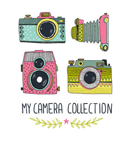 Retro photo cameras set. Vector illustration. Vintage cameras with ornaments. Hipster vector print for t-shirt, poster or card.