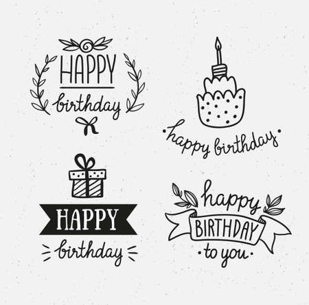 Set of happy birthday icons. Monochrome version. Vector hand drawn objects.
