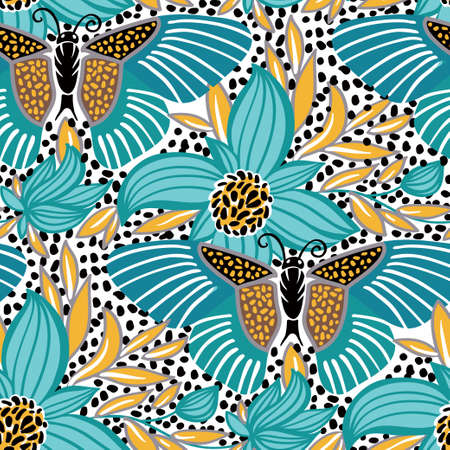 nectar: Vector seamless pattern with tropical flowers and butterfly, summer illustration.