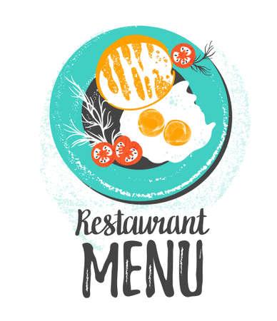 Vector schattig ontbijt: eieren, toast brood, tomaten en dille op een plaat. Vector kleurrijke grunge hipster illustratie die op wit wordt geïsoleerd. Stijlvolle achtergrond met voedsel voor restaurant menu.