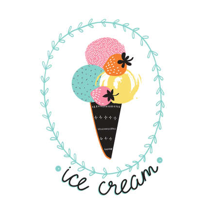 confection: Vector illustration with ice cream cone and stylish lettering - ice cream. Summer retro label design.