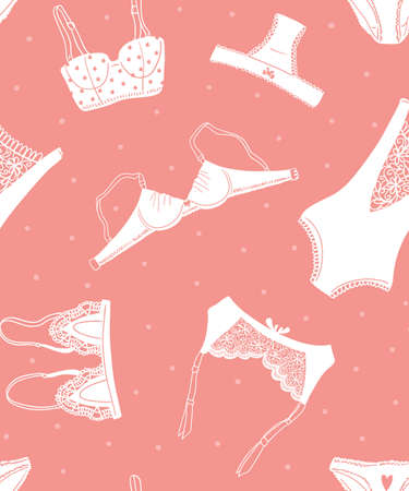 Seamless pattern of icons of womens underwear on a pink background with dots, hand-drawn design. Vector illustration.