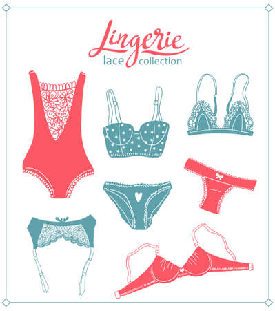 Lace lingerie set. Vector underwear design. Outline hand drawn illustration. Bras and panties doodle. Vector fashion feminine collection. Çizim