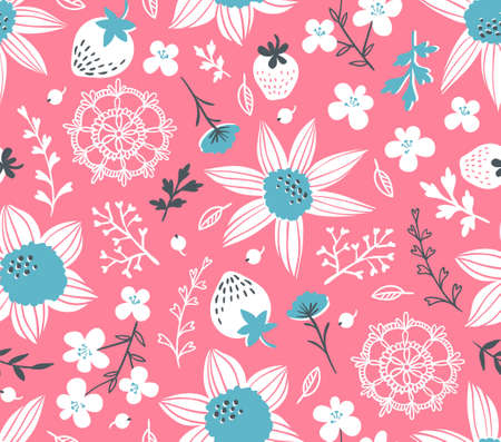 Seamless pattern with flowers, leaves, berries and lace. Endless background. Stylish fabric design. Vector summer template. Banco de Imagens - 81517109