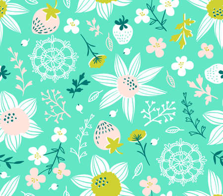 Seamless pattern with flowers, leaves, berries and lace. Endless background. Stylish fabric design. Vector summer template.