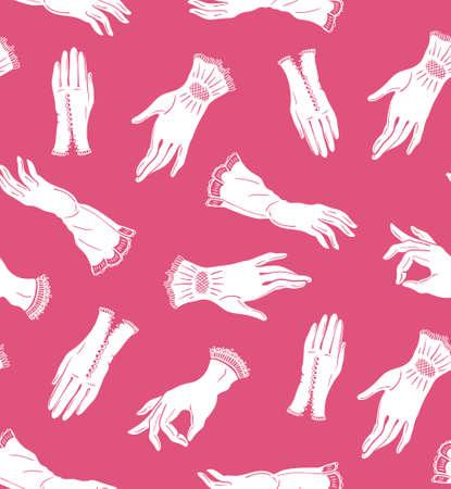 Vector naadloos patroon met elegante kanthandschoenen op de roze achtergrond. Geïsoleerd. Vrouw mode.