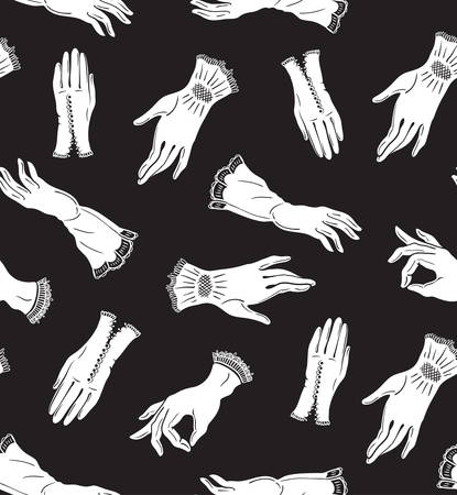 Vector seamless pattern with white elegant lace gloves on the black background. Isolated. Woman fashion.