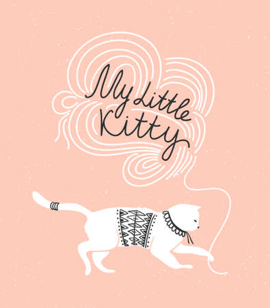 Stylish vector card with cute white cat and stylish lettering my little kitty on the groung background. Vector illustration. Illustration