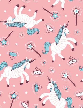 유니콘, 마술 지팡이 및 크리스탈 분홍색 배경 벡터 원활한 패턴. 판타지 유치한 직물 디자인입니다.