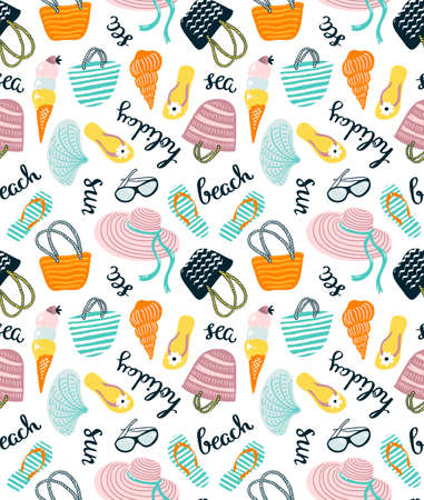 Summer seamless pattern with beach accessories isolated on the white background. Vector hand drawn illustration with stylish lettering. 向量圖像