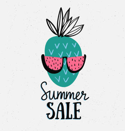 Vector summer background with hand drawn pineapple with watermelon sunglasses and hand written text Summer sale. Bright poster with lettering and tropical nature.