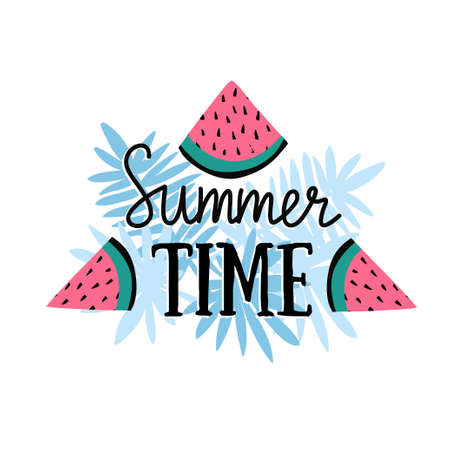 Vector summer background with hand drawn slices of watermelon, palm leaves and hand written text Summer time. Bright poster with lettering and tropical nature. 向量圖像