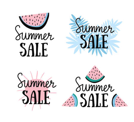 Vector summer labels with hand drawn slices of watermelon, palm leaves and hand written text Summer sale. Bright posters with lettering and tropical nature.