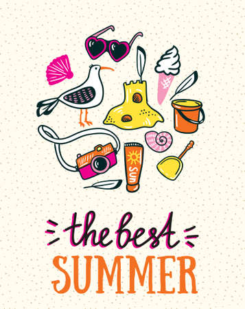 Summer card with hand-drawn stylish lettering - the best summer and beach things on the sand. Bright design for summer poster. Vector illustration.