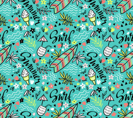 Vector tropical bright  seamless pattern with surfboard, cocktail, ice cream, floral elements and stylish lettering. Illustration