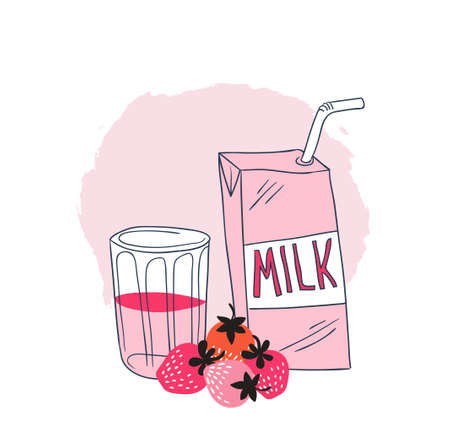 Strawberry milk graphic design , vector illustration with stylish milk box, glass and pink berry. Strawberry background.