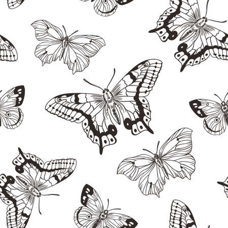 Beautiful seamless background of butterflies black and white colors.  Vector illustration. Simple stylish hand drawn design for fabric, paper and wallpaper.