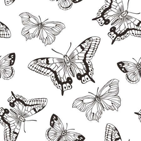 Mooie naadloze achtergrond van vlinders zwart-witte kleuren. Vector illustratie. Eenvoudig stijlvol handgetekend ontwerp voor stof, papier en behang.