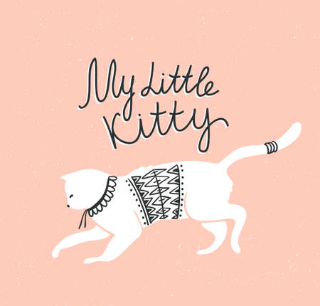 Vector card with cute white cat and stylish lettering my little kitty on the grunge background.
