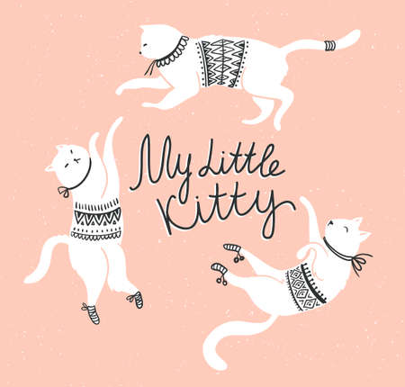 Vector card with cute white cats and stylish lettering my little kitty on the grunge background. Illustration