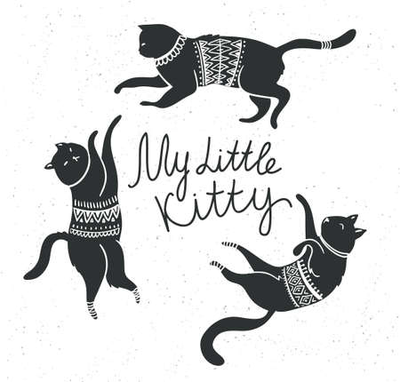 Vector card with cute white cats and stylish lettering 'my little kitty' on the grunge background. 版權商用圖片 - 83011655