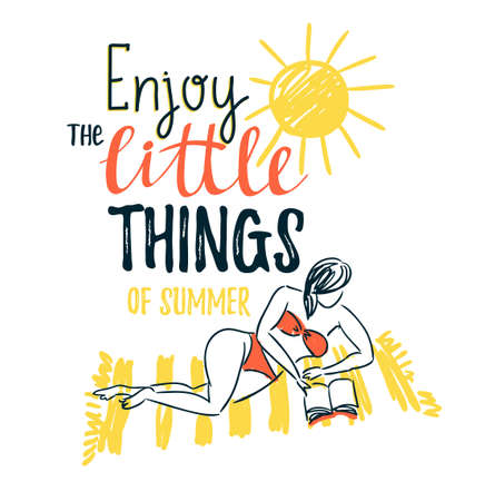 Girl sunbathing on a beach mat on the sea and reading a book - Summer vacation concept. Vector illustration with stylish lettering - 'Enjoy the little things of summer'.