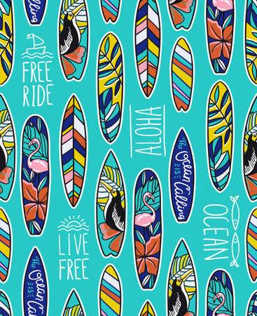 明るいサーフボードと青の背景にスタイリッシュなフレーズとシームレスなベクトル パターン。