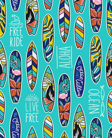 Seamless vector pattern with bright surfboards and stylish phrases on the blue background.
