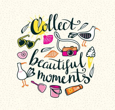 sun cream: Summer things with stylish lettering - Collect beautiful moments. Vector hand drawn illustration. Print for your design. Illustration