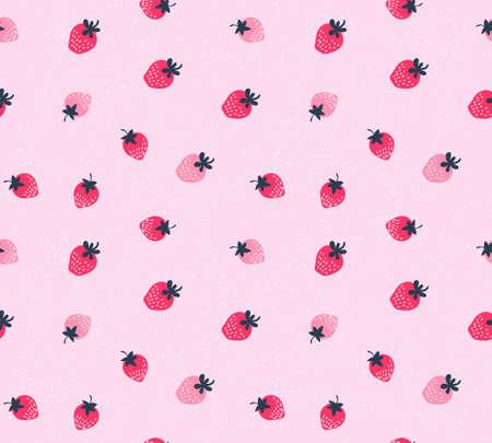 イチゴのベクトルの背景。手のシームレスなパターンは、イチゴを描かれています。庭の果物の自然なシームレス パターン。  イラスト・ベクター素材