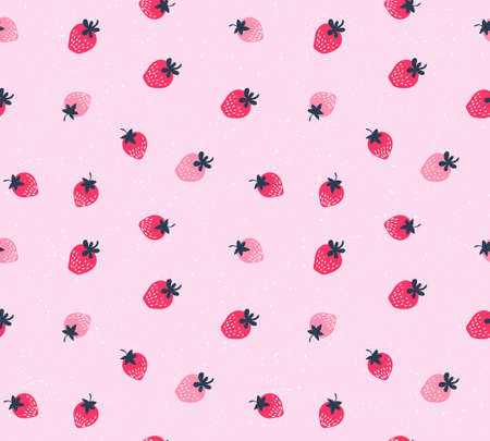 Vector strawberry background. Seamless pattern of hand drawn strawberries. Natural seamless pattern of garden fruits. Banco de Imagens - 82950043