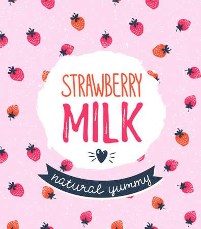 딸기 우유 그래픽 디자인, 벡터 일러스트 레이 션 세련 된 레이블와 핑크 베리 배경. 일러스트