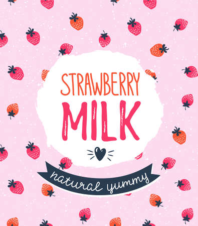 Strawberry milk graphic design , vector illustration with stylish label and pink berry background.