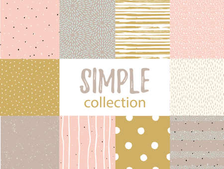 Vector seamless patterns with universal simple textures. Set for fabric, gift wrap and wallpaper. Иллюстрация