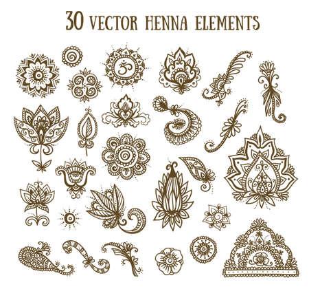 Vector met abstracte bloemenelementen in Indische stijl wordt geplaatst die. Henna-verzameling.