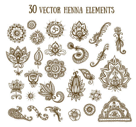 Vector set with abstract floral elements in indian style. Henna collection.