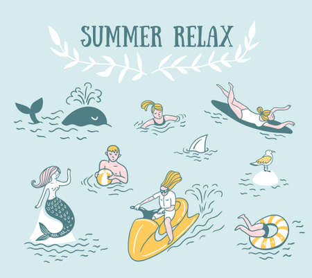 People Actively Relax, Swim in the Sea. Summer Sea Vacation Illustration. Vector Seamless Pattern. Illustration