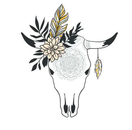 Hand drawn cow skull with ornament, flower, leaves and feather . Bohemian design for t-shirt. Vector illustration.