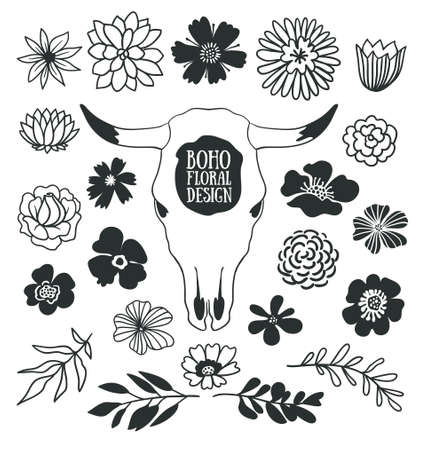 Boho black decorative plants and flowers collection with cow skull.