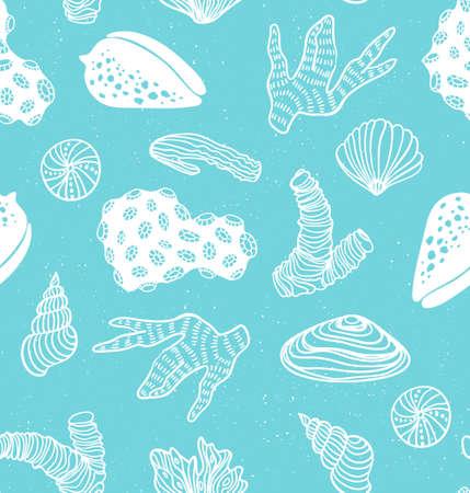 Blauw patroon met zeeschatten.