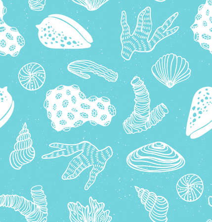 Blue pattern with sea treasures.