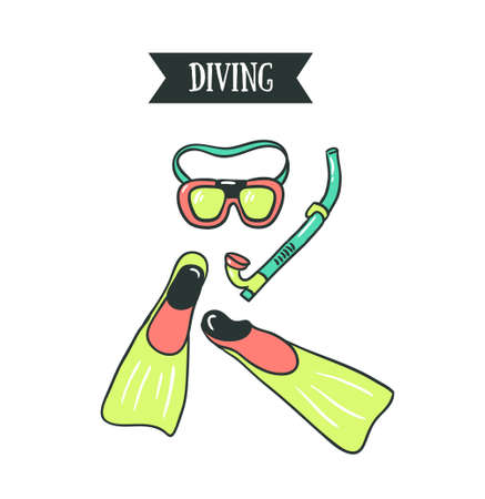 Diving gears icon. 向量圖像