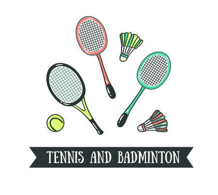 Badminton and tennis rackets icon.