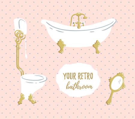 boudoir: Luxurious Bathroom. Vector bathroom doodles in vintage, boudoir style.