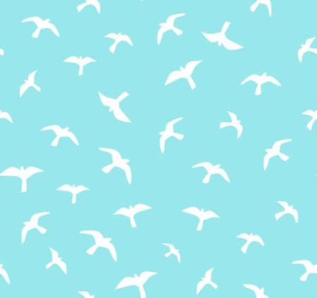 Naadloze vliegende vogels. Vector naadloos patroon. Achtergrond met meeuwen.