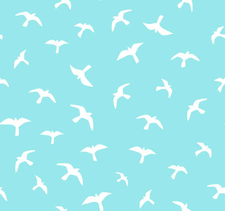 Seamless flying birds. Vector seamless pattern. Background with seagulls.