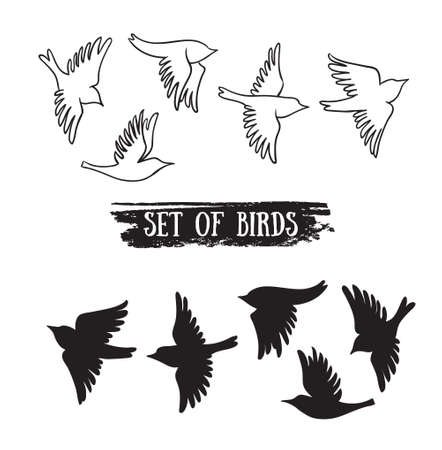 Birds flying in the sky. Vector black icons.